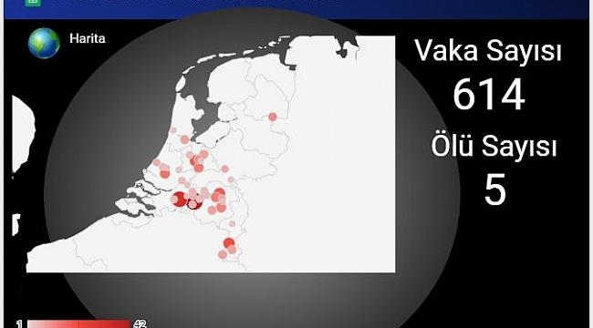Hollanda'da Koronavirüs'den 5 kişi öldü vaka sayısı 614'e yükseldi