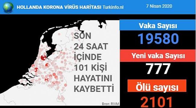 Hollanda'da koronavirüs 'den ölenlerin sayısı 2101'e yükseldi.