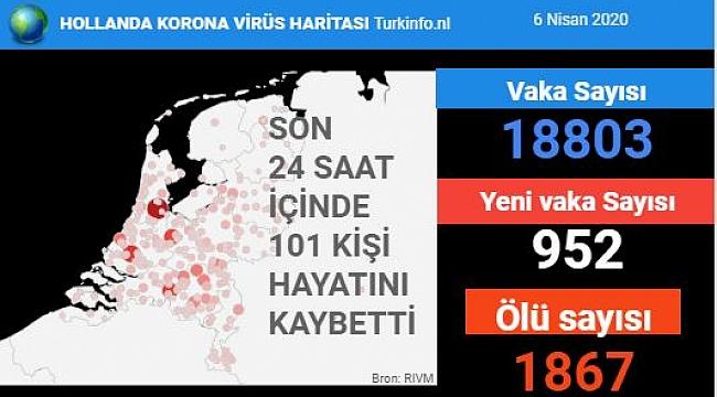 Hollanda'da son 24 saatte koronavirüs nedeniyle 101 kişi hayatını kaybetti