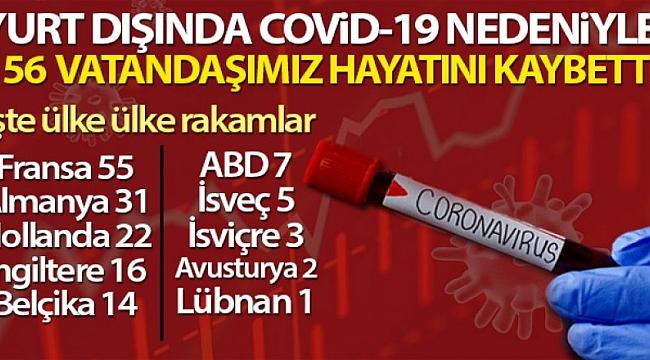 Yurt dışında 156 Türk vatandaşı Kovid-19'dan hayatını kaybetti