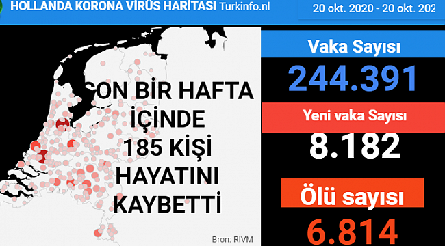 Hollanda'da son 24 saatte 8 bin 182 kişiye Kovid-19 hastalık tanısı konuldu