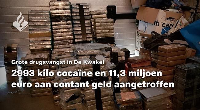 Grote drugsvangst De Kwakel 2993 kg cocaïne en 11,3 miljoen aan contanten aangetroffen