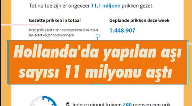 Hollanda'da yapılan aşı sayısı 11 milyonu aştı