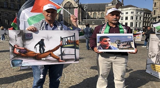Hollanda'da İsrail hapishanelerindeki Filistinli tutuklularla dayanışma gösterisi