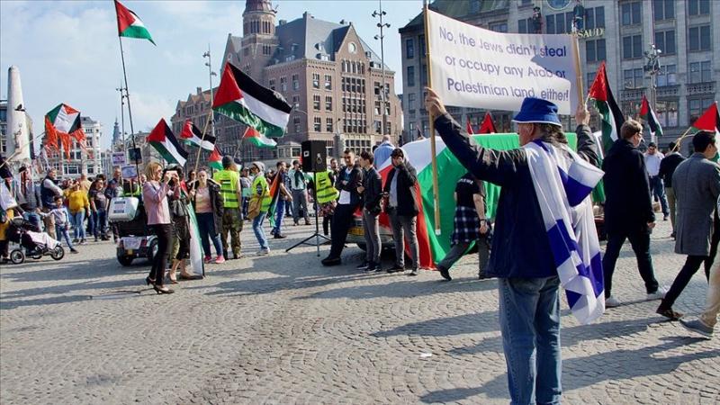 Hollanda'da Filistin Gösterisinde İsrail Taraftarlarından Provokasyon